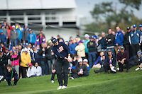 27.09.2014. Gleneagles, Auchterarder, Perthshire, Scotland.  The Ryder Cup.  Jordan Spieth [USA] third shot on the first hole . Saturday Foursooms.