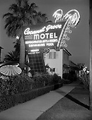 """0301-351A. Neon sign. Cocanut Grove Motel, 2012 W Van Buren St. Phoenix, Arizona. This sign was later replaced by a plastic sign. Cocanut is spelled with an """"o"""" now - """"Coconut"""" photo about 1955"""