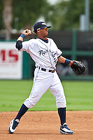 Gustavo Nunez (24) of the Lakeland Flying Tigers during a game vs. the Ft. Myers Miracle June 6 2010 at Joker Marchant Stadium in Lakeland, Florida. Ft. Myers won the game against Lakeland by the score of 2-0.  Photo By Scott Jontes/Four Seam Images