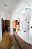 bathtub in the bedroom
