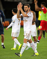 Pictured: Angel Rangel of Swansea Tuesday 25 August 2015<br /> Re: Capital One Cup, Round Two, Swansea City v York City at the Liberty Stadium, Swansea, UK.