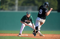 Plymouth State Panthers Paul Reny (15) waits for a throw as Brad Clark (9) slides in during the first game of a doubleheader against the Edgewood Eagles on March 17, 2015 at Terry Park in Fort Myers, Florida.  Edgewood defeated Plymouth State 12-3.  (Mike Janes/Four Seam Images)
