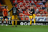 2nd October 2020; Tannadice Park, Dundee, Scotland; Scottish Premiership Football, Dundee United versus Livingston; Jon Guthrie of Livingston is congratulated after scoring for 1-1 by Scott Tiffoney