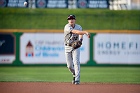 West Michigan Whitecaps second baseman Will Savage (12) throws to first base during a game against the Peoria Chiefs on May 9, 2017 at Dozer Park in Peoria, Illinois.  Peoria defeated West Michigan 3-1.  (Mike Janes/Four Seam Images)