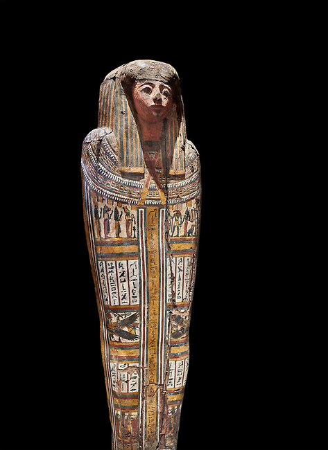 """Ancient Egyptian wooden sarcophagus - the tomb of Tagiaset, Iuefdi & Harwa circa 22nd Dynasty (943 - 716 BC.) Thebes. Egyptian Museum, Turin. black background.<br /> <br /> Coffin lid of the eldest woman buried in the tomb, probably Tagiasettahekat, wife of Padiau. The sarcophagus decoration includes representation of strips crossed over her chest typical of """"stoa coffin"""" of the 22nd dynasty."""