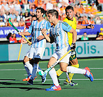 The Hague, Netherlands, June 13: Gonzalo Peillat #2 of Argentina celebrates after scoring a penalty corner (5-1) during the second half during the field hockey semi-final match (Men) between Australia and Argentina on June 13, 2014 during the World Cup 2014 at Kyocera Stadium in The Hague, Netherlands. Final score 5-1 (3-0)  (Photo by Dirk Markgraf / www.265-images.com) *** Local caption ***