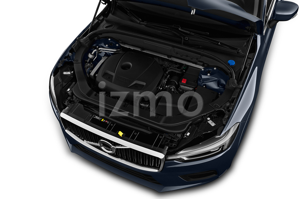 Car stock 2018 Volvo XC60 Momentum 5 Door SUV engine high angle detail view