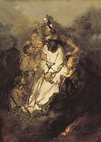 LUCAS VELAZQUEZ, Eugenio (1817-1870). The garrotted man. 1855. Romanticism. Oil on canvas. SPAIN. Madrid. Romantic Museum.