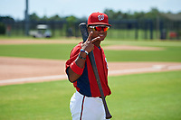 GCL Nationals Viandel Pena (41) during warmups before a Gulf Coast League game against the GCL Astros on August 9, 2019 at FITTEAM Ballpark of the Palm Beaches training complex in Palm Beach, Florida.  GCL Nationals defeated the GCL Astros 8-2.  (Mike Janes/Four Seam Images)