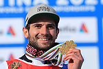 FIS Alpine World Ski Championships 2021 Cortina . Cortina d'Ampezzo, Italy on February 19, 2021. Mathieu Faivre (FRA) with his 2 gold medals at the men's Giant Slalom,