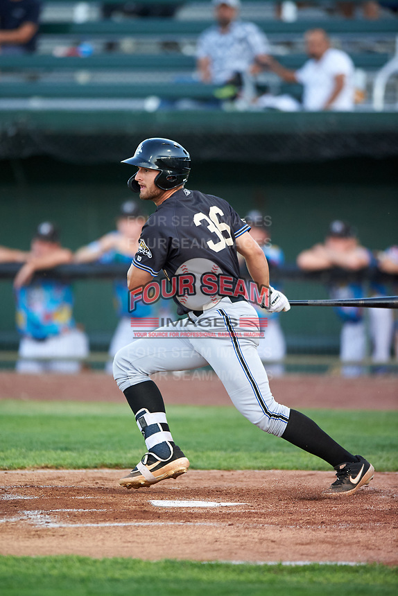 Missoula Osprey Spencer Brickhouse (36) at bat during a Pioneer League game against the Idaho Falls Chukars at Melaleuca Field on August 20, 2019 in Idaho Falls, Idaho. Idaho Falls defeated Missoula 6-3. (Zachary Lucy/Four Seam Images)