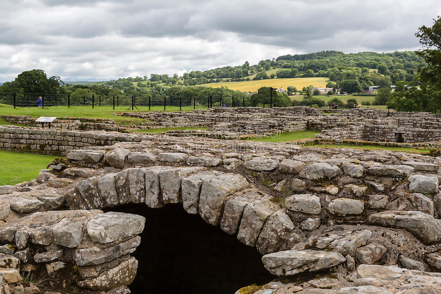 Northumberland, England, UK.  Chesters (Cilurnum) Roman Fort.  Entrance to Strong Room, where Money was Stored.
