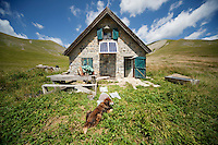 The shepherd's cabin where Bernard Bruno lives during 3 summer months while his sheep graze the mountain pastures around the Plateau de Longon, Mercantour National Park, French Alps, France, 01 August 2013. The hut has no running water, toilet, mains electricity or road access and is 1 hour's walk from the closest accessible point by vehicle.