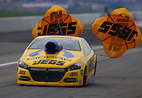 Aug 30, 2014; Clermont, IN, USA; NHRA pro stock driver Jeg Coughlin Jr during qualifying for the US Nationals at Lucas Oil Raceway. Mandatory Credit: Mark J. Rebilas-USA TODAY Sports