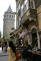 Galata Square with the Galata Tower and tourists
