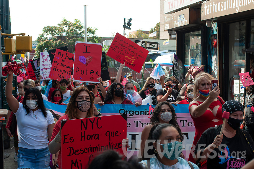 NEW YORK, QUEENS - NY SEPTEMBER 18:  Sex workers and supporters seen during a demonstration against discrimination against sex workers held on 18 September, 2020 in Jackson Heights,Queens,New York. <br /> Hundreds of people took part in a protest march to demand full decriminalization of sex work, ability to unionize, better working conditions and protection against violence experienced by sex workers. (Photo by Joana Toro /VIEWpress)