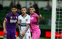 27th March 2021; HBF Park, Perth, Western Australia, Australia; A League Football, Perth Glory versus Newcastle Jets; Liam Reddy and Brandon Wilson of the Perth Glory wait for the corner kick with Roy O'Donovan of the Newcastle Jets