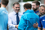 Queen of the South v St Johnstone…18.08.18…  Palmerston    BetFred Cup<br />Gary Naysmith greets saints assistant manager Alec Cleland<br />Picture by Graeme Hart. <br />Copyright Perthshire Picture Agency<br />Tel: 01738 623350  Mobile: 07990 594431