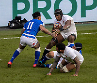13th February 2021; Twickenham, London, England; International Rugby, Six Nations, England versus Italy; Maro Itoje of England is tackled by Montanna Ioane of Italy