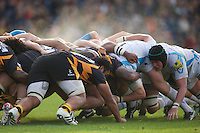 General view of a scrum during the Aviva Premiership match between London Wasps and Worcester Warriors at Adams Park on Sunday 7th October 2012 (Photo by Rob Munro)