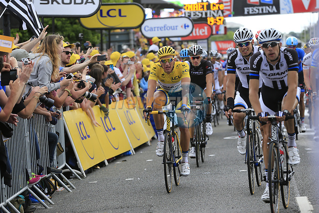 Yesterday's stage winner and Yellow Jersey wearer Marcel Kittel (GER) Team Giant-Shimano crosses the finish line the end of Stage 2 of the 2014 Tour de France running 200km from York to Sheffield. 6th July 2014.<br /> Picture: Eoin Clarke www.newsfile.ie