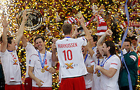 Denmark national handball team players celebrate after men`s EHF EURO 2012 handball championship game against Serbia in Belgrade, Serbia, Sunday, January 29, 2011.  (photo: Pedja Milosavljevic / thepedja@gmail.com / +381641260959)