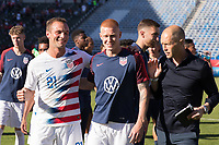CARSON, CA - FEBRUARY 1: Chase Gasper #21 Justen Glad celebrates with Gregg Berhalter of the United States after the match during a game between Costa Rica and USMNT at Dignity Health Sports Park on February 1, 2020 in Carson, California during a game between Costa Rica and USMNT at Dignity Health Sports Park on February 1, 2020 in Carson, California.