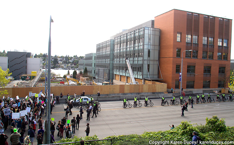 Protesters pause in front of the construction site of the animal research facility on Boat St. next to the William H. Foege Building. Hundreds turned out to protest the construction of a new $125 million underground animal research lab on campus at the University of Washington in Seattle, Wash. on April 25, 2015. (© Karen Ducey Photography)