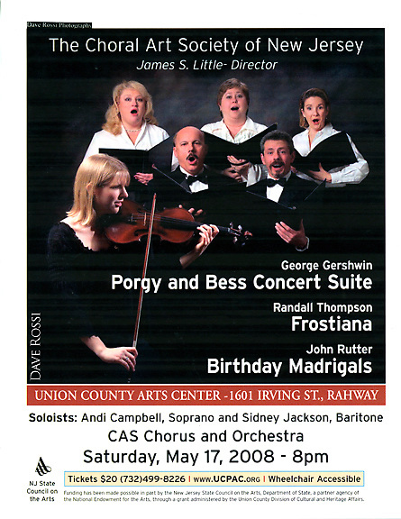The Choral Art Society of New Jersey. NJ, James S. Little conducting. Poster, brochure and publicity image.
