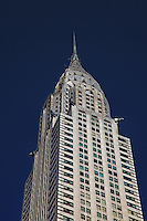 A view of the top section of the beautiful Chrysler Building in NYC.