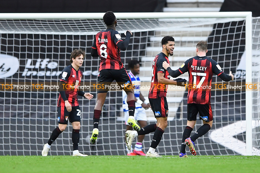 Dominic Solanke of AFC Bournemouth second right celebrates scoring his second and AFC Bournemouth's fourth goal during AFC Bournemouth vs Reading, Sky Bet EFL Championship Football at the Vitality Stadium on 21st November 2020