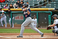 Nick Evans (17) of the Reno Aces at bat against the Salt Lake Bees at Smith's Ballpark on May 5, 2014 in Salt Lake City, Utah.  (Stephen Smith/Four Seam Images)
