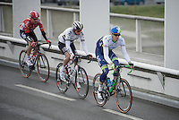Mathew Hayman (AUS/Orica-GreenEDGE) riding out of Compiègne, followed by Aleksejs Saramotins (LVA/IAM); they will be the #1 and #8 finishers 258km's later.<br /> <br /> 114th Paris-Roubaix 2016