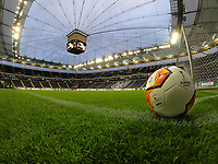 Geisterspiel in der Europa League in der leeren Commerzbank Arena - 12.03.2020: Eintracht Frankfurt vs. FC Basel, UEFA Europa League, Achtelfinale, Commerzbank Arena<br /> DISCLAIMER: DFL regulations prohibit any use of photographs as image sequences and/or quasi-video.