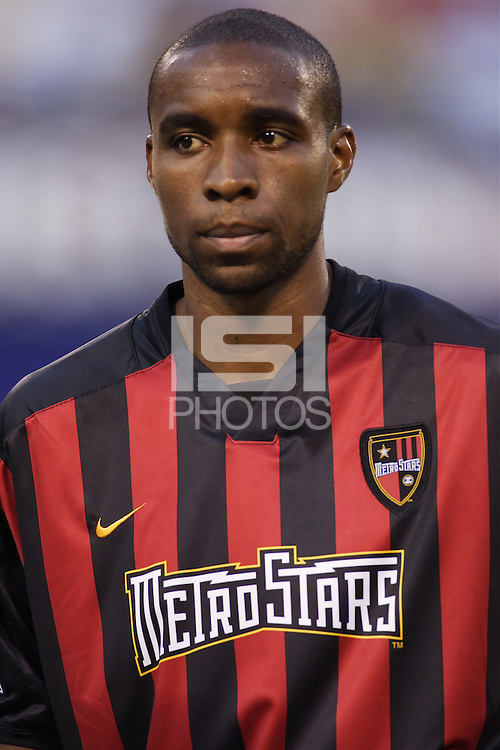 The MetroStars' Eddie Pope during pregame introductions. The Chicago Fire played the NY/NJ MetroStars to a one all tie at Giant's Stadium, East Rutherford, NJ, on May 15, 2004.