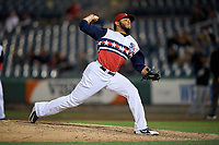 Syracuse Chiefs relief pitcher Jimmy Cordero (20) delivers a pitch during a game against the Scranton/Wilkes-Barre RailRiders on June 14, 2018 at NBT Bank Stadium in Syracuse, New York.  Scranton/Wilkes-Barre defeated Syracuse 9-5.  (Mike Janes/Four Seam Images)