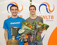March 15, 2015, Netherlands, Rotterdam, TC Victoria, NOJK, Winner boys 18 years Guy den Heijer and runner up Maikel Borg (R)<br /> Photo: Tennisimages/Henk Koster