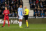 CD Leganes's Youssef En-Nesyri have words with the referee during La Liga match between CD Leganes and Getafe CF at Butarque Stadium in Leganes, Spain. December 07, 2018. (ALTERPHOTOS/A. Perez Meca)
