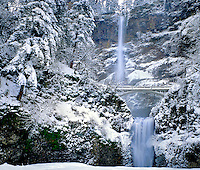Winter at Multnomah Falls in the Columbia River Gorge National Scenic Area, Oregon