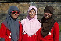 Borobudur, Java, Indonesia.  Young Indonesian Students Visiting the Temple.
