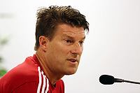 Wednesday 07 August 2013<br /> Pictured: Manager Michael Laudrup during a press conference at the Malmo Stadium, Sweden.<br /> Re: Swansea City FC travelling to Sweden for their Europa League 3rd Qualifying Round, Second Leg game against Malmo.