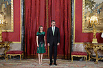 King Felipe VI of Spain and Queen Letizia of Spain receive Costa Rica's President Guillermo Solis and wife Mercedes Penas Domingo for an official lunch at the Royal Palace in Madrid. May 8 ,2017. (ALTERPHOTOS/Pool)