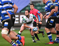 21st November 2020; Recreation Ground, Bath, Somerset, England; English Premiership Rugby, Bath versus Newcastle Falcons; Michael Young of Newcastle Falcons passes under pressure
