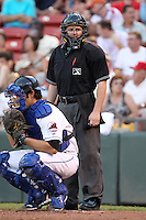 Umpire John Merry during a game at Coca-Cola Field in Buffalo, New York;  August 30, 2010.  Photo By Mike Janes/Four Seam Images