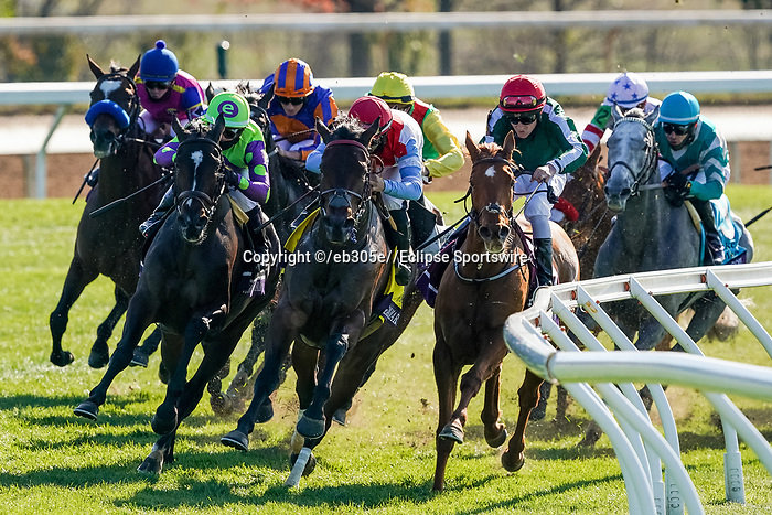 November 7, 2020 : Audarya, ridden by Pierre-Charles Boudot, wins the Maker's Mark Filly & Mare Turf on Breeders' Cup Championship Saturday at Keeneland Race Course in Lexington, Kentucky on November 7, 2020. /Dan Heary/Breeders' Cup/Eclipse Sportswire/CSM