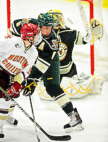 12 November 2010: University of Vermont Catamount defenseman Kyle Medvec, a Senior from Burnsville, MN, in action against the Boston College Eagles at Gutterson Fieldhouse in Burlington, Vermont. The Eagles edged out the Cats 3-2 in the first game of their weekend series. Mandatory Credit: Ed Wolfstein Photo