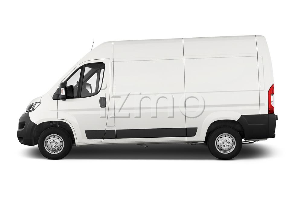 Car driver side profile view of a 2018 Peugeot Boxer Pro 3 Door Cargo Van