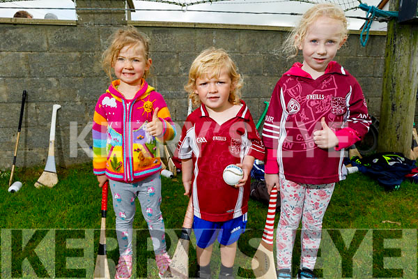 Causeway juveniles Sarah Kearney, Shane Diggins and Maggie Dillane out in full force supporting the Causeway senior hurlers on Sunday at the sports field