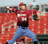 Starting pitcher Jim Stokes (34) of the Elon College Phoenix in a game against the Clemson Tigers on March 21, 2012, at Fluor Field at the West End in Greenville, South Carolina. Clemson won 4-2. (Tom Priddy/Four Seam Images)