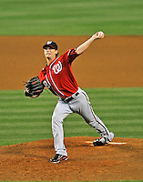 23 July 2011: Washington Nationals pitcher Ross Detwiler on the mound against the Los Angeles Dodgers at Dodger Stadium in Los Angeles, California. The Dodgers rallied to defeat the Nationals 7-6 on a Rafael Furcal walk-off, RBI double in the bottom of the 9th inning. Mandatory Credit: Ed Wolfstein Photo